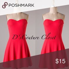 Coral Red sweetheart sundress Material : 96% polyester 4%spandex / size large/ brand new- online boutique clearance Dresses Strapless