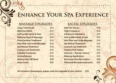 Massage Spa Menu