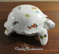 Chamart Limoges France Porcelain Figural Turtle Covered Box Butterfly Flowers #Chamart