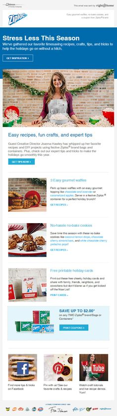 Excellent scalable email design from Ziploc. Super useful and relevant content for the holidays as well. Facebook Recipe, Holiday Emails, Stress Less, Email Design, Fun Crafts, Easy Meals, Printables, Content, Holidays