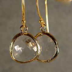 Crystal Glass Gold Earrings Gold Bridesmaid by ilexiadesigns, $24.00