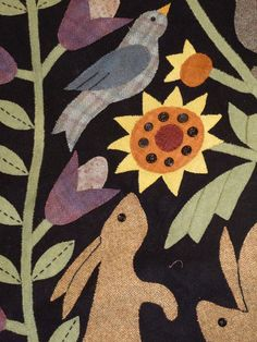 Wool Applique... Holly Hill Quilt Shoppe. Would like to try an applique wall hanging like this.