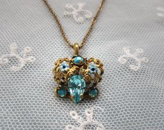 Vintage Enamel Necklace -  Aqua Blue Czech Crystal Rhinestones - Delicate Necklace