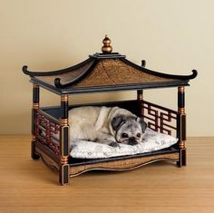 Chinoiserie pet bed in black & gold. | available through DHC Interiors. Every king deserves his throne