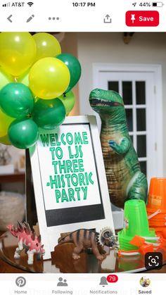 LJ's Three-historic Dinosaur Party – Bower Power THREE-historic Dinosaur Birthday Party LJ Bower Dinosaur Birthday Party, 4th Birthday Parties, Dinosaur Cake, Parties Kids, Elmo Party, Mickey Party, Third Birthday, Boy Birthday, Birthday Ideas