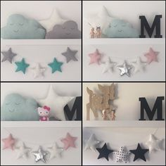 Love a good #shelfie ! Playing around with some different styling options with our cushions and garlands. #littlebambinobear #wabusinessdirectory #stargarland #starcushion #cloudcushion #hellokitty #sonnyangel #kidsdecor #nurserydecor