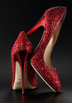 "Jimmy Choo red sparkle pumps...""there's no place like home"""