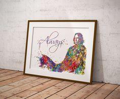 Severus Snape Always Multicolored 1 Watercolor Art Print Harry Potter Fan Art