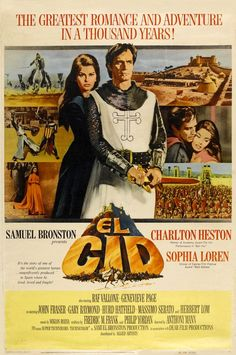 El Cid.....1961 // Directed by	Anthony Mann  Produced by	Samuel Bronston  Written by	Story:  Fredric M. Frank  Screenplay:  Philip Yordan  Starring	Charlton Heston  Sophia Loren  Raf Vallone  Geneviève Page  John Fraser  Gary Raymond  Herbert Lom  Douglas Wilmer  Music by	Miklós Rózsa  Cinematography	Robert Krasker  Editing by	Robert Lawrence  Distributed by	Allied Artists (USA)  Rank Organization (UK)  Dear Film (Italy)  Miramax Films (1993 re-release)  Release date(s)	Italy:  October 24…