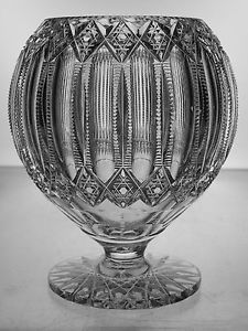 AMERICAN-BRILLIANT-CUT-GLASS-CRYSTAL-ANTIQUE-RARE-HAWKES-PEDESTAL-ROSE-BOWL-ABP