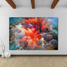 Modern Abstract Canvas Art Painting Colorful Clouds Wall Pictures For Living Room Home Decor Frameless - Ideen rund ums Haus - Kunst Abstract Art Painting, Large Canvas Wall Art, Wall Art Painting, Colorful Wall Art, Painting, Abstract Wall Art, Abstract Canvas Art, Abstract, Canvas Art Painting
