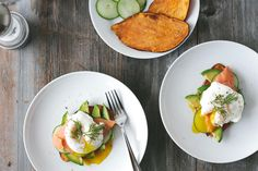 (gluten-free, paleo) Sweet Potato Toast with Avocado, Cucumber, Smoked Salmon and Poached Egg