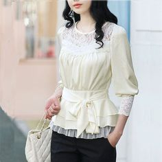 2014 nuevas mujeres de OL elegante dulce del remiendo del cordón del arco Real blusa de seda de 3/4 camisas de manga marca con envío gratuito