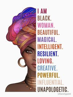 black fitness Art - 'I Am a Powerful Black Woman' T-Shirt by UrbanApparel Art Black Love, Black Girl Art, My Black Is Beautiful, Black Girls Rock, Black Girl Magic, Black Art Painting, Black Artwork, Black Women Quotes, Strong Black Woman Quotes