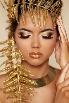 Eye Make up. Beautiful Make-up Closeup. Golden Makeover - buy this stock photo on Shutterstock & find other images. Beauty Makeup, Hair Makeup, Gold Everything, Golden Goddess, Eye Make Up, Gold Fashion, Pretty Woman, Makeup Looks, Beauty Hacks