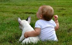 """""""You and Me are Gonna be Friends Forever"""", Baby Boy and French Bulldog."""
