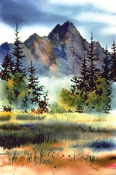 Art Aquarelle, Watercolor Landscape Paintings, Watercolor Trees, Watercolour Painting, Landscape Art, Watercolors, Simple Watercolor, Watercolor Artists, Abstract Paintings
