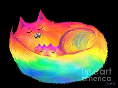 A beautiful fluffy rainbow cat snuggling her two kittens