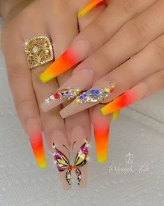 yellow orange red ombre coffin nails with butterfly nail designs Coffin Nails Designs Summer, Summer Acrylic Nails, Best Acrylic Nails, Acrylic Nail Designs, Nail Art Designs, Summer Nails, Pastel Nails, Glam Nails, Dope Nails
