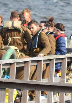 Taking it in his stride: The One Direction singer looked focused throughout the shoot which saw him dressed as a World War Two soldier. He wore a look of deep concentration on his face, with the star no doubt keen to deliver an authentic performance