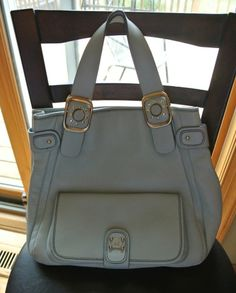 Michael Kors Light Blue Baby Blue Pebbled Leather Purse Bag Handbag Gold Accents