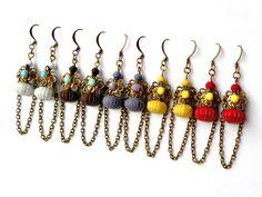 """BIJOUX TEXTILES - Collection """"Les CheinELLES"""" : Boucles d'oreille par myrifik"""