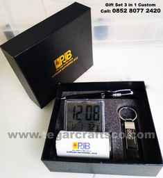 A custom gift set 3 in 1 that contains of digital deskclock, keychain and pen for suppliers gathering event that will be held end this month ordered by UBJ O&M PLTMG (Pembangkit Listrik Tenaga Mesin dan Gas) Arun, Batuphat Lhokseumawe Aceh, Indonesia. For special offer please contact our marketing staff in 0852 8077 2420 Gift Packaging, Customized Gifts, Dan, Hold On, Marketing, Digital, Personalized Gifts, Personalised Gifts, Gift Wrapper