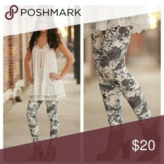 SOFT Gray Rose Print Leggings ?? COMING SOON Adorable and butter soft grey floral print brushed knit leggings. Pairs beautifully with grey sweater lace tunic available in my closet.    92% Polyester 8% Spandex  COMING SOON, LIKE OR COMMENT FOR NOTIFICATIONS. Infinity Raine Pants Leggings