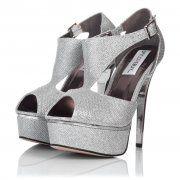 VEGAS Stiletto Heel Glitter Platform Shoes - Silver Glitter