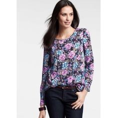Ann Taylor Marinella Top LS floral top, new with tags Ann Taylor Tops