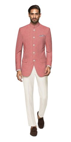 The Coimbra Bandhgala is festive and understated, in the perfect shade of pink. Pair this with light or dark trousers to get the party started. Indian Wedding Suits Men, Blazer For Men Wedding, Wedding Dress Men, Indian Formal Wear, Indian Groom Wear, Indian Wear, Dress Suits For Men, Mens Suits, Marriage Dress For Men