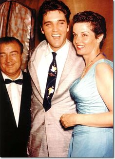 Elvis Presley made an appearance, but did not sing at Russwood Park for a benefit for St. Jude's Hospital on June 28, 1957. Elvis is flanked by comic Lou Costello and actress Jane Russell. The estimated crowd was 11,000.
