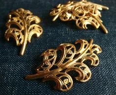 Vintage Miriam Haskell Filigree Plumes  24k Gold Plated  by cmyk, $6.00
