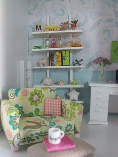 Bookcase and new wallpaper in office | Flickr - Photo Sharing!