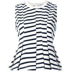 T by Alexander Wang Peplum Top (70 KWD) ❤ liked on Polyvore featuring tops, white, stripe top, sleeveless tops, t by alexander wang, striped peplum top and striped top
