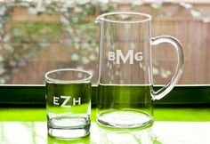 Personalized Monogrammed Glass Pitcher - Personalized Gifts / Unique Gifts For-the-Home Dining-and-Entertaining - This sleek, clean-lined pitcher is both classic and modern, ideal for serving everything from water to iced tea, martinis to mojitos. Personalized with a classic block-letter monogram, it's the perfect gift for almost any occasion, from housewarmings to hostesses to weddings. Pair it with a set of monogrammed glasses for an even nicer gift.    Please allow 10-14 business days…
