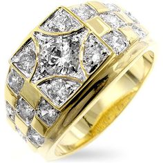 The Checkerboard Cubic Zirconia Ring is set with round but cubic zirconia and lustrous golden shine. Our two-tone and tri-tone process use gold that electro Mens Gold Rings, Rings For Men, Diamond Rings, Diamond Jewelry, Men's Jewelry, Jewellery Rings, Beach Jewelry, Mens Pinky Ring, Pinky Rings