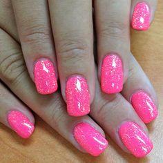 "Neon Pink Paint with Orange Crush Glitter Gel tagged ""Gel Art ..."