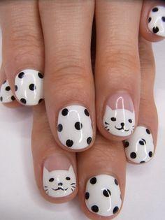 Smiley Kitties Black and White Polka Dot Nails.  Good for reference for potential dot spacing! #polkadots #nailart #bw