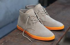 Comfy suede boots. Clae Strayhorns in suede khaki with neon orange rubber sole.