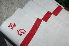 Antique French Linen Towel, Tea Towel, Torchon, monogramed AC, red stripes, 1900s, Cottage Chic, vintage French decor