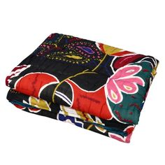 The desi rooi, Indian filler cotton, used in this quilt is of exceptional quality in this razai (Indian quilt) made in Jaipur, India. The fabrics used in this quilt include cotton voile that gives this quilt a feathery touch. Furthermore, the exceptional warmth and softness of the cotton was enhanced traditionally, through the application of herbal substances. It has multicolor paisley designs, which looks very unique.