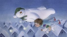 Flying high over the rooftops, the snowman and the snowdog take Billy on his adventure