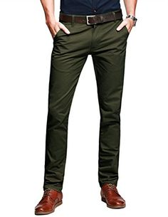 Match Mens Slim-Tapered Flat-Front Casual Pants(Light army Slightly below waist / slim fit / tapered leg Notice: Belt not included, please buy separately Ideal for casual & business wear Work Casual, Men Casual, Casual Wear, Best Pants For Men, Olive Pants, Olive Chinos, Brown Pants, Winter Outfits Men, Slim Fit Trousers