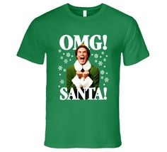 This Elf OMG! SANTA! Buddy-The-Elf Christmas T-Shirt is one of our favorites, it won't be around forever so order yours here today! North American made, our tees are produced using the latest direct to garment print technology. The result is a quality image that won't fade or crack. Please be careful when you change colors! If the graphic is dark, it won't show up on a dark shirt. Let Us know if there is a graphic you would like better in a different color, in most cases they are eas...