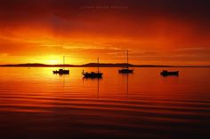Boats at sunrise. Boston Bay. Port Lincoln. South Australia