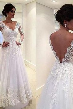 Long Sleeves V-neck Wedding Dress with V Cut Back.