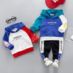 Autumn Winter Baby Casual Long Sleeve Sweatshirt With Pants Material:Cotton Color:Blue,White Size Chart: Size----Age----Length---Bust---PantLength Rp Boys Summer Outfits, Summer Boy, Toddler Boy Outfits, Toddler Boys, Sport Outfits, Girl Outfits, Boys Sweaters, Boys T Shirts, Baby Boy Fashion