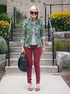 obsessed with this combination of stripes, camo and burgundy