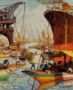 """""""Labour in the Sun"""", Benito Quinquela Martin, Argentina South American Art, African Art Paintings, Post Impressionism, Art Database, Art Uk, Water Crafts, National Museum, Illustration, Patagonia"""